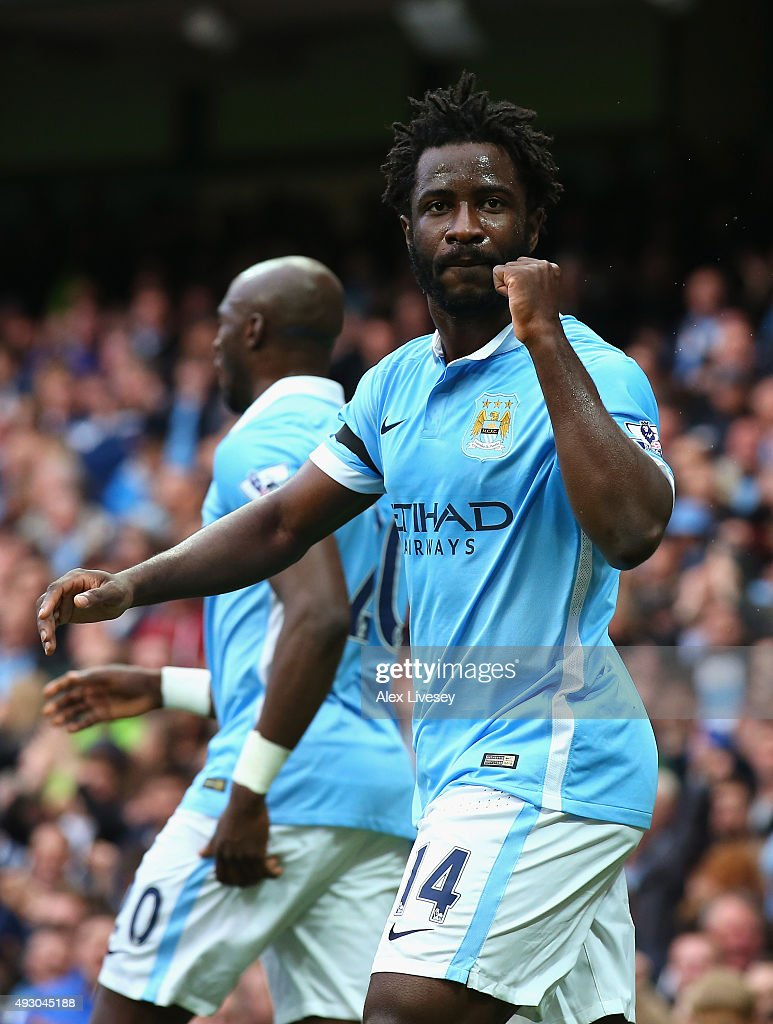 Wilfred Bony of Manchester City celebrates scoring his team's second goal during the Barclays Premier League match between Manchester City and AFC...