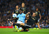 Wilfred Bony of Manchester City is tackled by Giorgio Chiellini of Juventus during the UEFA Champions League Group D match between Manchester City FC...