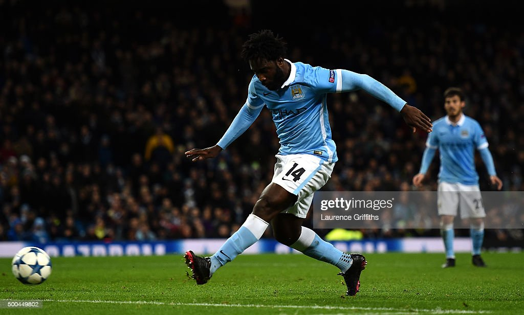 Wilfred Bony of Manchester City scores his side's fourth goal during the UEFA Champions League Group D match between Manchester City and Borussia Monchengladbach at Etihad Stadium on December 8, 2015 in Manchester, United Kingdom.