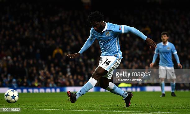 Wilfred Bony of Manchester City scores his side's fourth goal during the UEFA Champions League Group D match between Manchester City and Borussia...