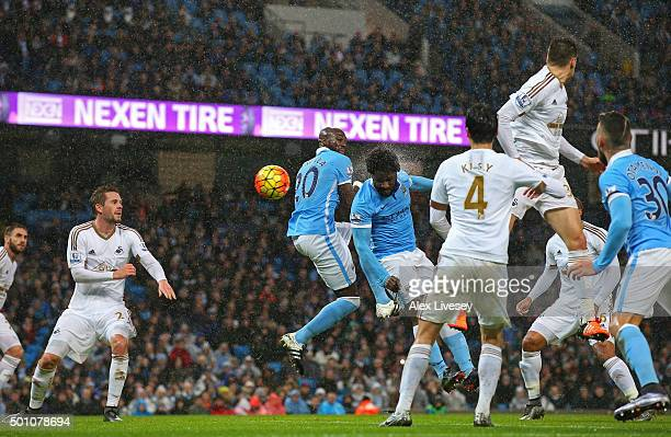 Wilfred Bony of Manchester City scores his team's first goal during the Barclays Premier League match between Manchester City and Swansea City at...