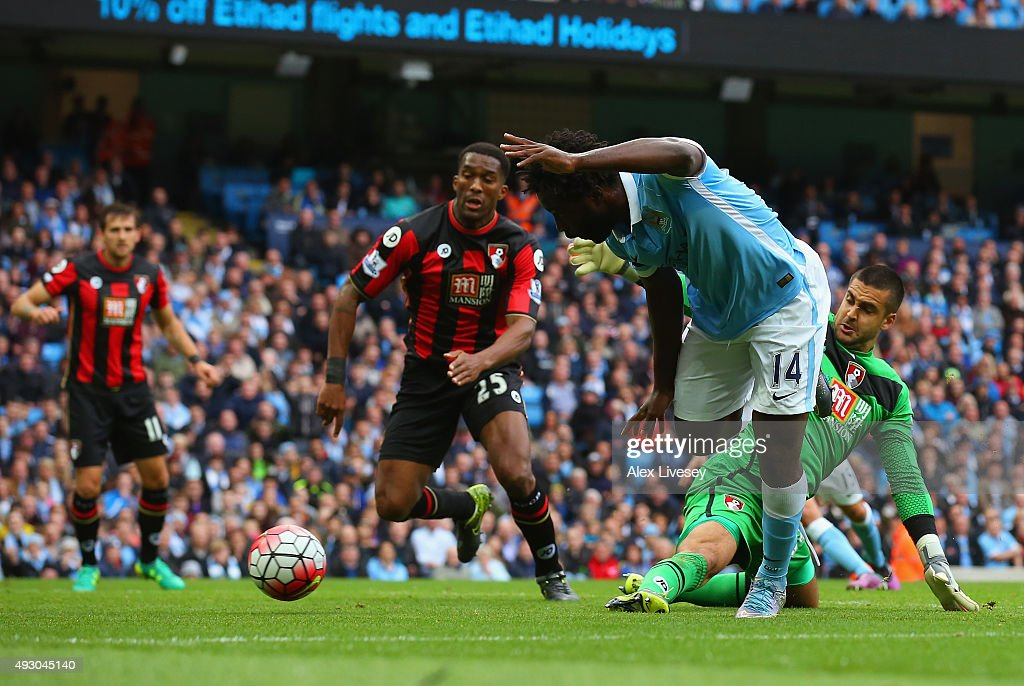 Wilfred Bony of Manchester City scores his team's second goal during the Barclays Premier League match between Manchester City and AFC Bournemouth at...