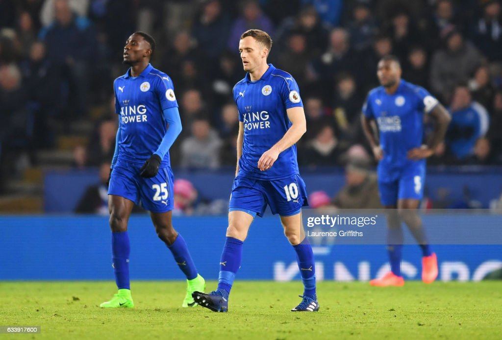 Wilfred Ndidi (25) and Andy King of Leicester City (10) look dejected as Juan Mata of Manchester United scores their third goal during the Premier League match between Leicester City and Manchester United at The King Power Stadium on February 5, 2017 in Leicester, England.