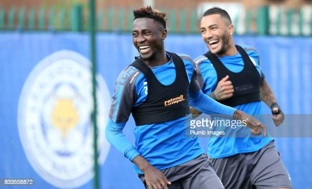 Wilfred Ndidi and Danny Simpson during the Leicester City training session at Belvoir Drive Training Complex on August 17 2017 in Leicester United...