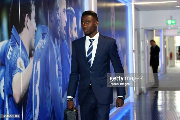 Wilfred Ndidi arrives ahead of the Premier League match between Leicester City and Tottenham Hotspur at King Power Stadium on May 18 2017 in...