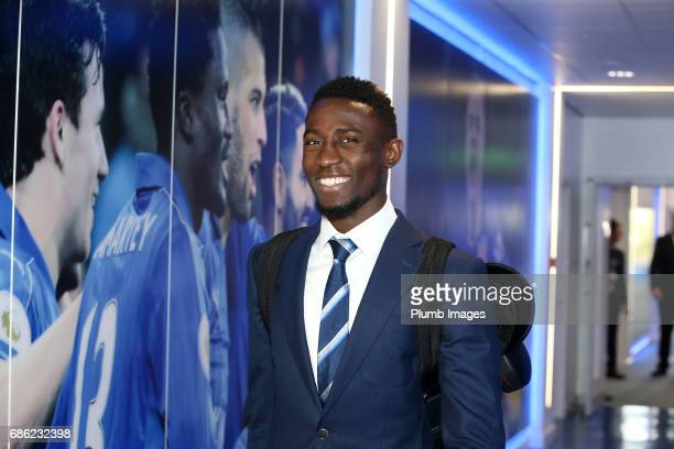 Wilfred Ndidi arrives ahead of the Premier League match between Leicester City and Bournemouth at King Power Stadium on May 21 2017 in Leicester...
