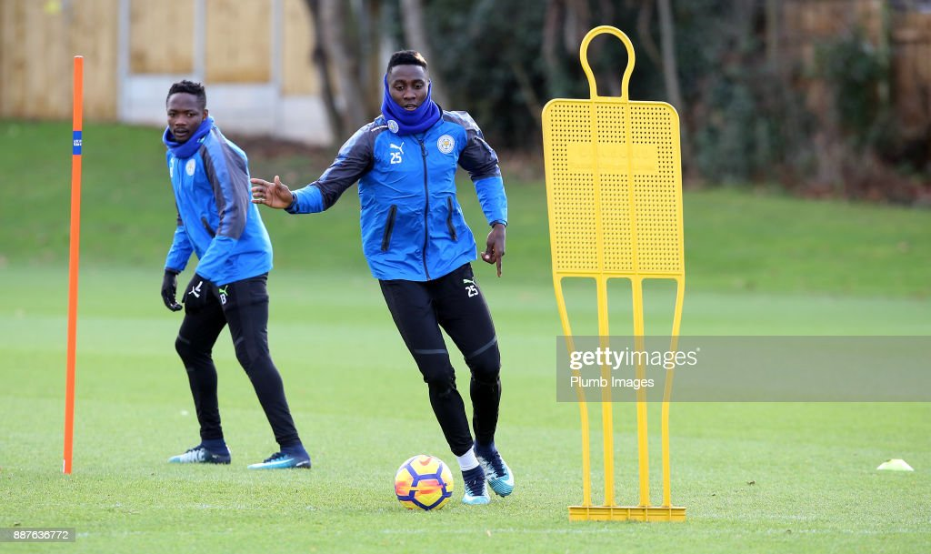 Wilfred Ndidi during a Leicester City training session at Belvoir Drive Training Complex on December 7, 2017 in Leicester, United Kingdom.