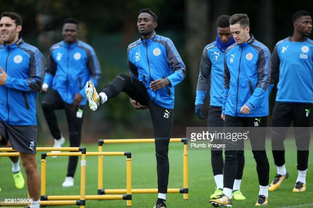 Wilfred Ndidi during the Leicester City training session at Belvoir Drive Training Complex on August 09 2017 in Leicester United Kingdom