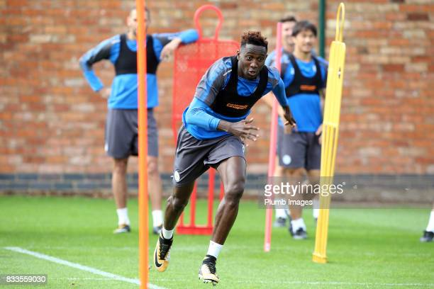 Wilfred Ndidi during the Leicester City training session at Belvoir Drive Training Complex on August 17 2017 in Leicester United Kingdom