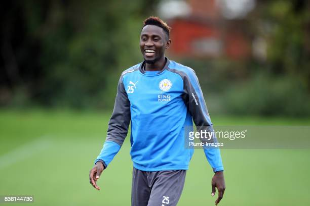 Wilfred Ndidi during the Leicester City training session at Belvoir Drive Training Complex on August 21 2017 in Leicester United Kingdom