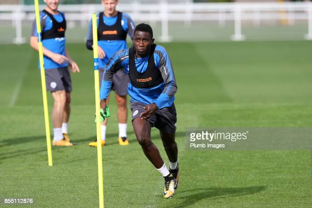 Wilfred Ndidi during the Leicester City training session at Belvoir Drive Training Complex on September 28 2017 in Leicester United Kingdom