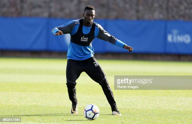 Wilfred Ndidi during the Leicester City training session at Belvoir Drive Training Complex on October 12 2017 in Leicester United Kingdom