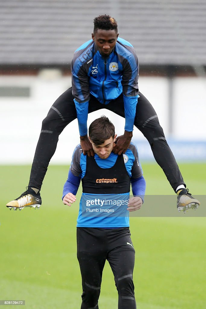 Wilfred Ndidi jumps over Ben Chilwell on the way out to training during the Leicester City training session at Belvoir Drive Training Complex on August 09 , 2017 in Leicester, United Kingdom.