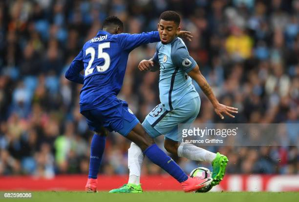 Wilfred Ndidi of Leicester City and Gabriel Jesus of Manchester City compete for the ball during the Premier League match between Manchester City and...