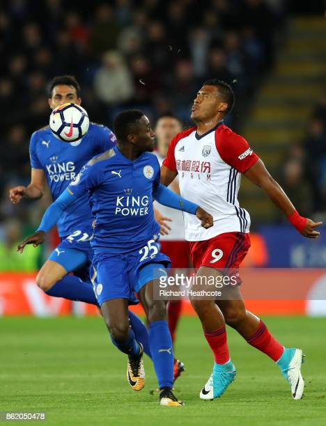 Wilfred Ndidi of Leicester City and Jose Salomon Rondon of West Bromwich Albion during the Premier League match between Leicester City and West...