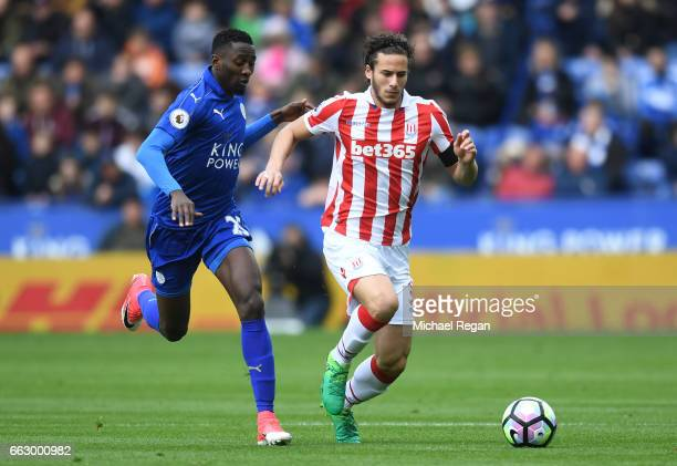 Wilfred Ndidi of Leicester City and Ramadan Sobhi of Stoke City battle for possession during the Premier League match between Leicester City and...