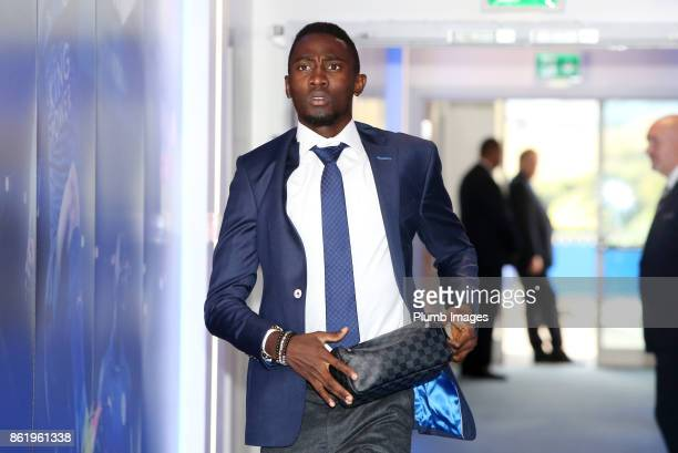 Wilfred Ndidi of Leicester City arrives at King Power Stadium ahead of the Premier League match between Leicester City and West Bromwich Albion at...