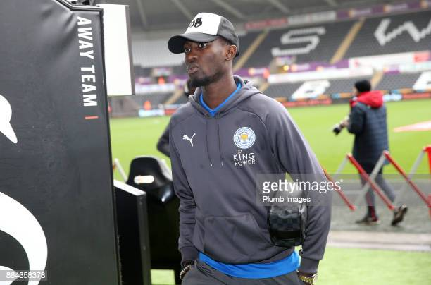 Wilfred Ndidi of Leicester City arrives at Liberty Stadium ahead of the Premier League match between Swansea City and Leicester City at Liberty...