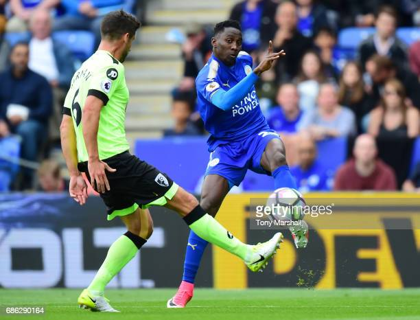 Wilfred Ndidi of Leicester City attempts to cross during the Premier League match between Leicester City and AFC Bournemouth at The King Power...
