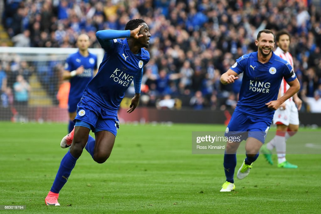 Wilfred Ndidi of Leicester City celebrates scoring his sides first goal during the Premier League match between Leicester City and Stoke City at The King Power Stadium on April 1, 2017 in Leicester, England.