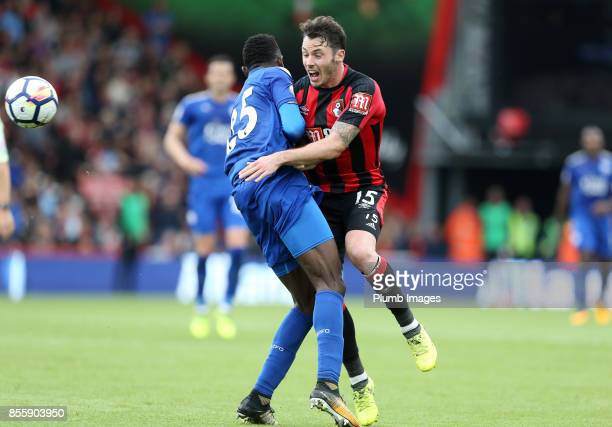 Wilfred Ndidi of Leicester City clatters in to Adam Smith of Bournemouth during the Premier League match between Bournemouth and Leicester City at...