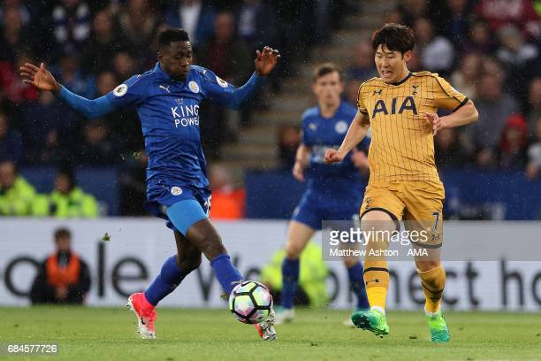 Wilfred Ndidi of Leicester City competes with Son HeungMin of Tottenham Hotspur during the Premier League match between Leicester City and Tottenham...