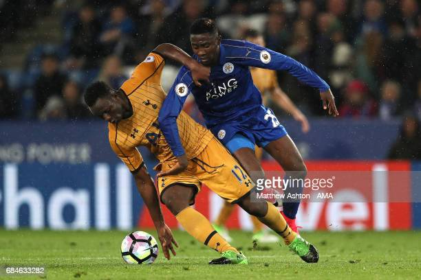 Wilfred Ndidi of Leicester City competes with Victor Wanyama of Tottenham Hotspur during the Premier League match between Leicester City and...