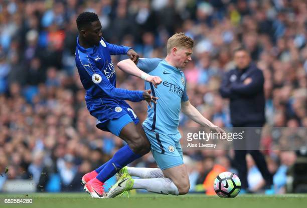 Wilfred Ndidi of Leicester City fouls Kevin De Bruyne of Manchester City during the Premier League match between Manchester City and Leicester City...