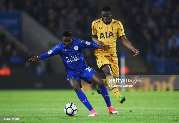 Wilfred Ndidi of Leicester City holds off Victor Wanyama of Tottenham Hotspur during the Premier League match between Leicester City and Tottenham...