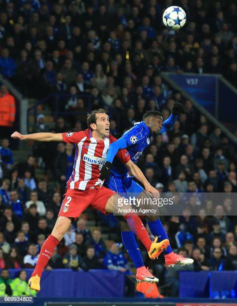 Wilfred Ndidi of Leicester City in action against Diego Godin of Atletico Madrid during Champions League Quarter Final second leg soccer match...