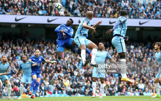 Wilfred Ndidi of Leicester City in action during the Premier League match between Manchester City and Leicester City at Etihad Stadium on May 13 2017...