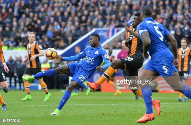 Wilfred Ndidi of Leicester City in action with Alfred N'Diaye of Hull City during the Premier League match between Leicester City and Hull City at...
