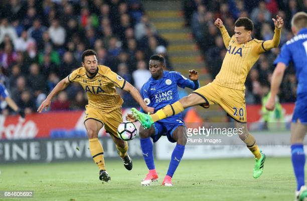Wilfred Ndidi of Leicester City in action with Dele Alli and Mousa Dembele of Tottenham Hotspur during the Premier League match between Leicester...