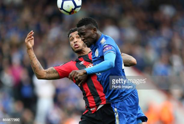Wilfred Ndidi of Leicester City in action with Joshua King of Bournemouth during the Premier League match between Bournemouth and Leicester City at...