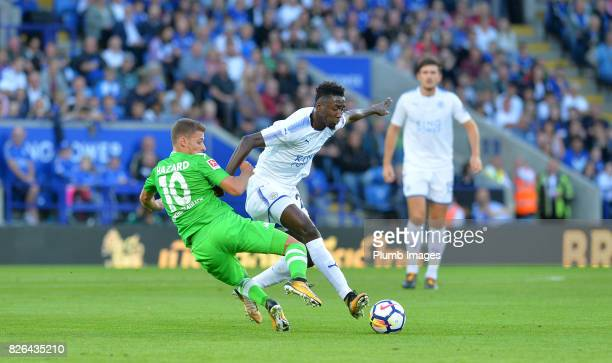 Wilfred Ndidi of Leicester City in action with Thorgan Hazard of Borussia Monchengladbach during the Leicester City v Borussia Monchengladbach...