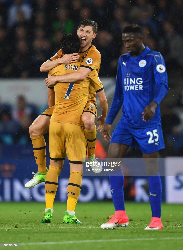 Wilfred Ndidi of Leicester City looks dejected as Heung-Min Son of Tottenham Hotspur (7) celebrates as he scores their fourth goal with Ben Davies during the Premier League match between Leicester City and Tottenham Hotspur at The King Power Stadium on May 18, 2017 in Leicester, England.