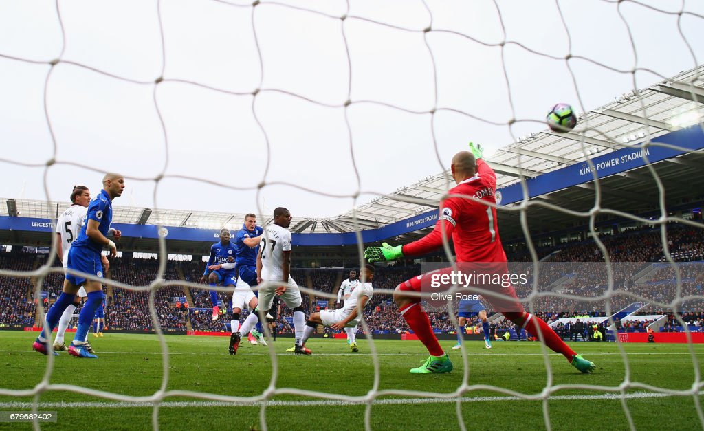 Wilfred Ndidi of Leicester City (obscure) scores his sides first goal during the Premier League match between Leicester City and Watford at The King Power Stadium on May 6, 2017 in Leicester, England.