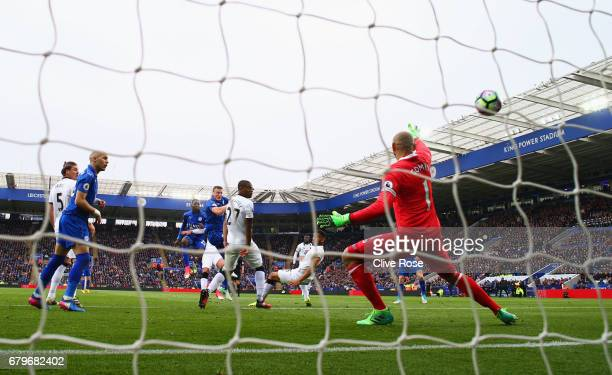 Wilfred Ndidi of Leicester City scores his sides first goal during the Premier League match between Leicester City and Watford at The King Power...