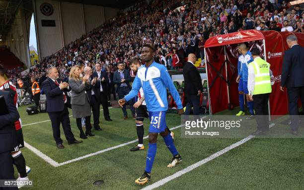 Wilfred Ndidi of Leicester City walks out at Bramall Lane ahead of the Carabao Cup Second Round tie between Sheffield United and Leicester City at...