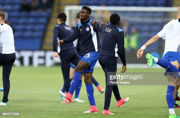 Wilfred Ndidi of Leicester City warms up ahead of the Premier League match between Leicester City and Tottenham Hotspur at King Power Stadium on May...