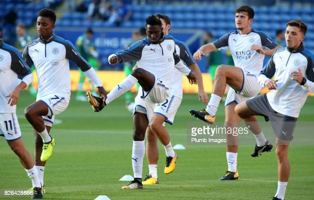 Wilfred Ndidi of Leicester City warms up at King Power Stadium ahead of the Leicester City v Borussia Monchengladbach Preseason Friendly at King...