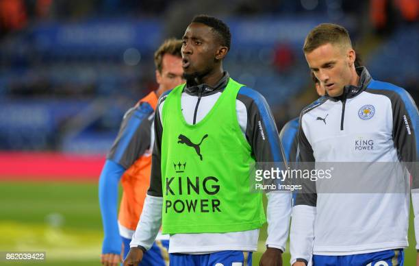 Wilfred Ndidi of Leicester City warms up at King Power Stadium ahead of the Premier League match between Leicester City and West Bromwich Albion at...