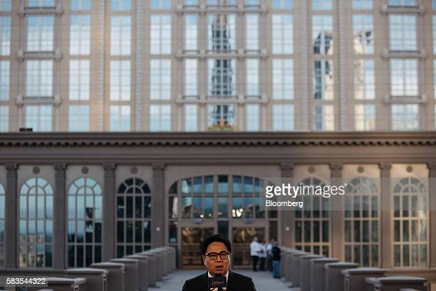 Wilfred Wong president and chief operating officer of Sands China Ltd speaks in a media event at the Parisian's Eiffel Tower attraction in Macau...