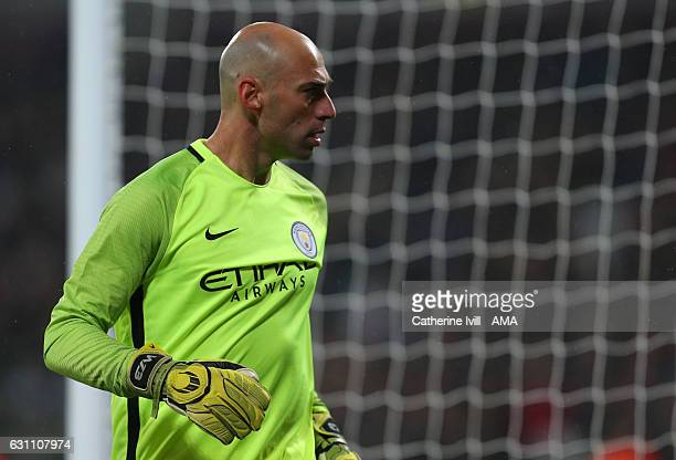Wilfredo Caballero of Manchester City during the Emirates FA Cup Third Round match between West Ham United and Manchester City at London Stadium on...