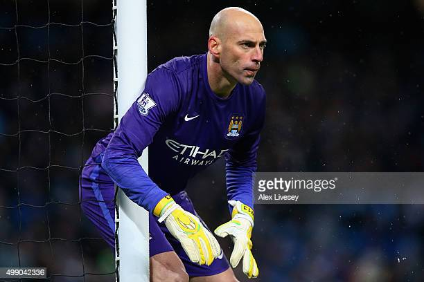 Wilfredo Caballero of Manchester City in action during the Barclays Premier League match between Manchester City and Southampton at the Etihad...