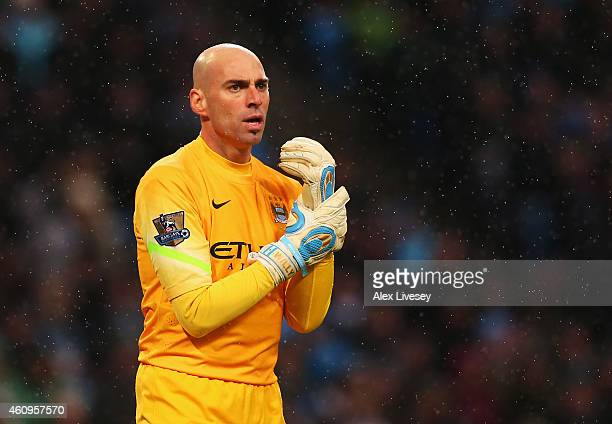 Wilfredo Caballero of Manchester City looks on during the Barclays Premier League match between Manchester City and Sunderland at Etihad Stadium on...