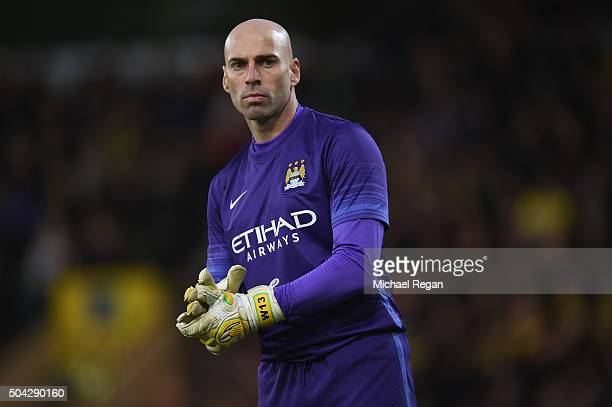 Wilfredo Caballero of Manchester City looks on during the Emirates FA Cup third round match between Norwich City and Manchester City at Carrow Road...