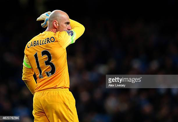 Wilfredo Caballero of Manchester City looks on during the FA Cup Fourth Round match between Manchester City and Middlesbrough at Etihad Stadium on...