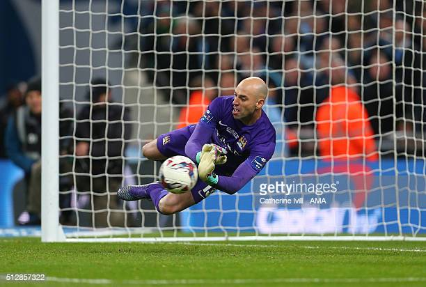 Wilfredo Caballero of Manchester City makes a save in the penalty shootout during the Capital One Cup Final match between Liverpool and Manchester...