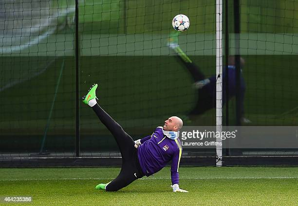 Wilfredo Caballero of Manchester City on the ball during a Manchester City training session ahead of the UEFA Champions League round of 16 first leg...